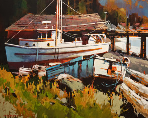 "SOLD ""Alert Bay, B.C.,"" by Michael O'Toole 24 x 30 – acrylic $2780 Unframed"
