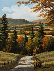 "SOLD ""Around the Bend"" by Bill Saunders 6 x 8 - acrylic $500 Unframed $685 in show frame"