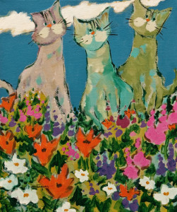 "SOLD ""Cats in the Garden"" by Claudette Castonguay 10 x 12 - acrylic $370 Unframed $475 in show frame"