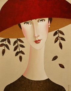 "SOLD ""Clara and the Red Hat"" by Danny McBride 11 x 14 - acrylic $975 Unframed $1130 in show frame"
