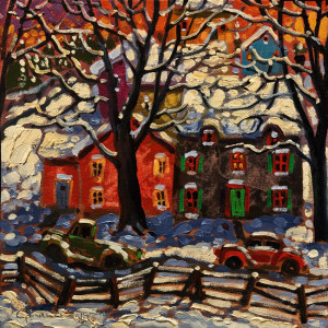 "SOLD ""December Nights"" by Rod Charlesworth 10 x 10 - oil $775 Unframed $985 in show frame"