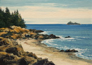 "SOLD ""East Beach"" by Merv Brandel 5 x 7 - oil $630 Unframed $780 in show frame"