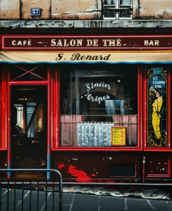 """G. Renard Salon"" by Thomas Pradzynski 8 1/2 x 10 1/2 - serigraph $1560 Framed"