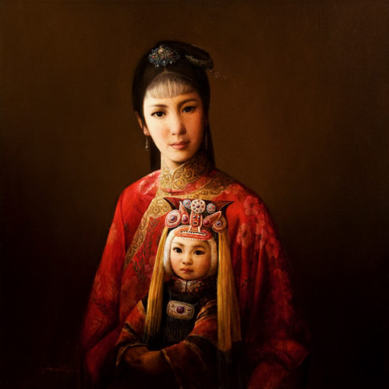 """Han Mother and Child,"" by Dongmin Lai 24 x 24 - oil $8000 Framed"