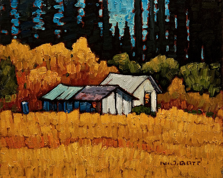 SOLD ``McCoy's Sheds,`` by Nicholas Bott 8 x 10 - oil $1040 Unframed $1225 Custom framed