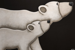 "SOLD ""Me and Ma,"" by Peter Wyse 24 x 36 – acrylic $2760 (unframed panel with 1 1/2"" edging)"