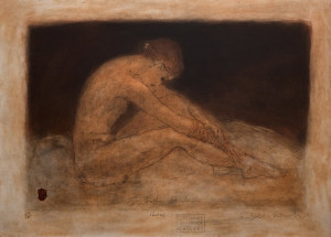 """Resting,"" by Roy Fairchild-Woodard 20 1/2 x 28 1/2 - ltd. edition serigraph No. 273 of edition of 385 $2100 Unframed"