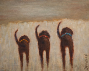 "SOLD ""Runs in the Family"" by Bev Binfet 8 x 10 - oil $370 Unframed $460 in show frame"