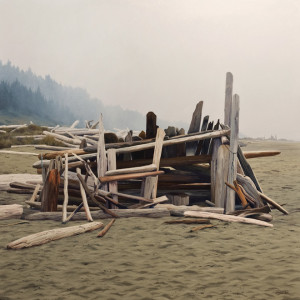 "SOLD ""Shelter,"" by Merv Brandel 36 x 36 – oil $6000 (thick canvas wrap without frame)"