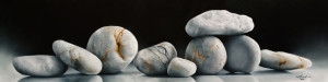 "SOLD ""A Stones Throw,"" by Mickie Acierno 12 x 48 – oil $2625 Unframed"