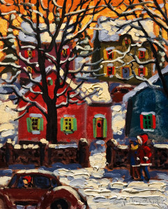 "SOLD ""A Walk in the Snow"" by Rod Charlesworth 8 x 10 - oil $700 Unframed $880 in show frame"