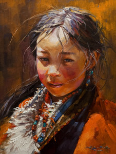 "SOLD ""Warm Sunlight,"" by Donna Zhang 12 x 16 - oil $1620 Unframed $1975 in show frame"