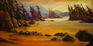 "SOLD ""Another Azo Beach,"" by David Langevin 24 x 48 – acrylic $3375 (thick canvas wrap without frame)"