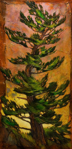 "SOLD ""August Pine,"" by David Langevin 30 x 60 – acrylic $4700 (thick canvas wrap without frame)"