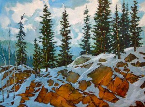 "SOLD ""Blue Snow Summer,"" by David Langevin 36 x 48 – acrylic $3600 (thick canvas wrap without frame)"