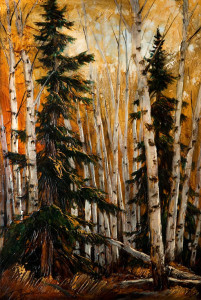 "SOLD ""Brenda's Other Dragon Trees,"" by David Langevin 24 x 36 – acrylic $2700 Unframed"