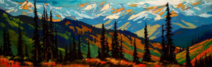 "SOLD ""C'est Loin,"" by David Langevin 12 x 36 – oil $1475 Unframed"