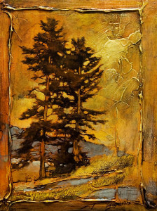 "SOLD ""Colder Than It Looks,"" by David Langevin 9 x 12 – mixed media $725 Framed"
