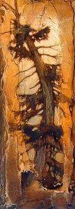 "SOLD ""Crackles,"" by David Langevin 9 x 24 – acrylic $1080 Framed"