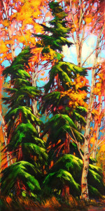 "SOLD ""Evergreen Partners,"" by David Langevin 18 x 36 – acrylic $2250 Unframed"