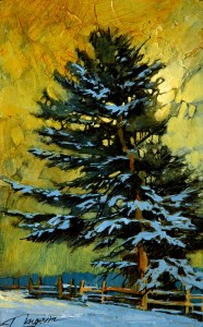 "SOLD ""Fat Pine with Snow,"" by David Langevin 5 x 8 – acrylic $320 Unframed"