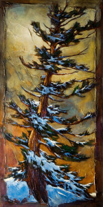 "SOLD ""The Fearless Fir,"" by David Langevin 30 x 60 – acrylic $4700 (thick canvas wrap without frame)"