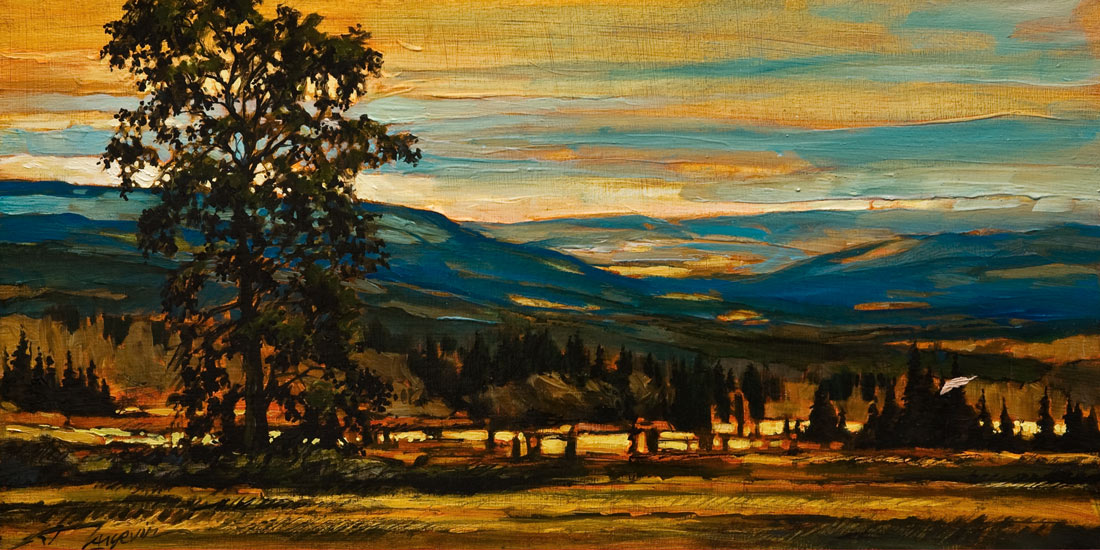 "SOLD ""Field Work,"" by David Langevin 12 x 24 – oil $1200 (thick panel with  1 1/2"" painted edging)"