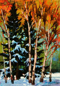 "SOLD ""Forest Left,"" by David Langevin 5 x 7 – acrylic $420 in artist's frame"