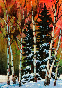 "SOLD ""Forest Study I,"" by David Langevin 5 x 7 – acrylic $420 in artist's frame"