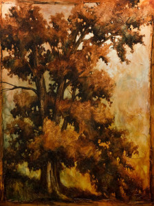 "SOLD ""The Giant Oak,"" by David Langevin 60 x 80 – acrylic $8800 (thick canvas wrap without frame)"
