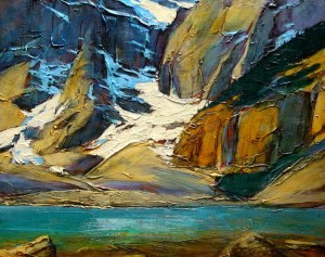 "SOLD ""Glacial Water,"" by David Langevin 16 x 20 – acrylic $1285 Framed"
