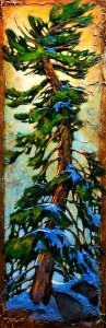 "SOLD ""The Go-Go Tree,"" by David Langevin 12 x 36 – acrylic $1580 (thick canvas wrap without frame)"