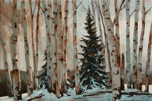 "SOLD ""Hide and Seek,"" by David Langevin 24 x 36 – acrylic $2860 Framed"