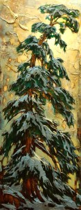 "SOLD ""I'm Getting Tired Of Winter,"" by David Langevin 24 x 60 – acrylic $3600 (thick canvas wrap without frame)"