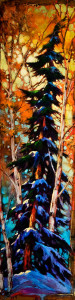 "SOLD ""In North Van,"" by David Langevin 12 x 48 – acrylic $2000 (unframed panel with 1 1/2"" edging)"