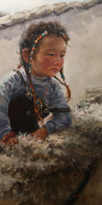 "SOLD ""In the Backyard,"" by Donna Zhang 18 x 36 – oil $4700 (thick canvas wrap without frame)"