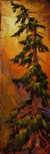 "SOLD ""The Intruder,"" by David Langevin 12 x 36 – acrylic $1580 (thick canvas wrap without frame)"