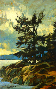 "SOLD ""Island Dwellers II,"" by David Langevin 5 x 8 – acrylic $440 Framed"