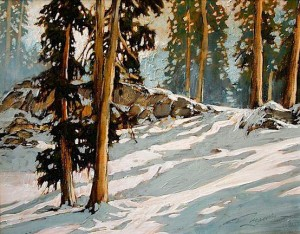 "SOLD ""It Had to Snow that Day,"" by David Langevin 14 x 18 – acrylic $915 Framed"