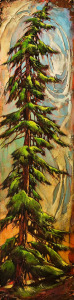 "SOLD ""It's Like a Spiral,"" by David Langevin 12 x 48 – acrylic $2000 (unframed panel with 1 1/2"" edging)"