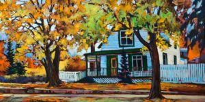 """Just Driving By,"" by David Langevin 18 x 36 - acrylic $2300 Unframed"