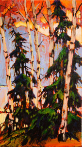 "SOLD ""Lake View,"" by David Langevin 5 x 9 – acrylic $385 Unframed"