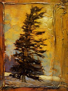 "SOLD ""The Last Minute Pine,"" by David Langevin 9 x 12 – mixed media $725 Framed"