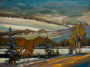 "SOLD ""Le St. Francois L'Hiver,"" by David Langevin 18 x 24 – oil $1635 Framed"