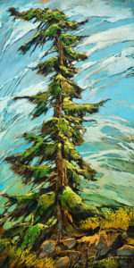 "SOLD ""Limey,"" by David Langevin 12 x 24 – acrylic $1250 Unframed"
