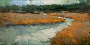 "SOLD ""Le Marais,"" by Robert P. Roy (The Marsh) 24 x 48 – oil $2400 (thick canvas  wrap without frame)"