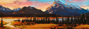 "SOLD ""Mt. Rundle at Dawn,"" by David Langevin 16 x 48 – oil $2700 (panel with 1 1/2"" edges)"