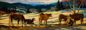 "SOLD ""My First Cows,"" by David Langevin 10 x 28 – acrylic $1050 Unframed"