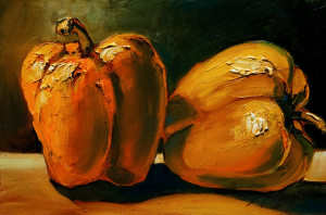 "SOLD ""My Pepper Study,"" by David Langevin 6 x 9 – acrylic $520 Framed"
