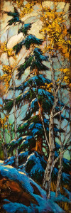 "SOLD ""Pot Luck,"" by David Langevin 12 x 36 – acrylic $1675 (thick panel with  1 1/2"" painted edging)"